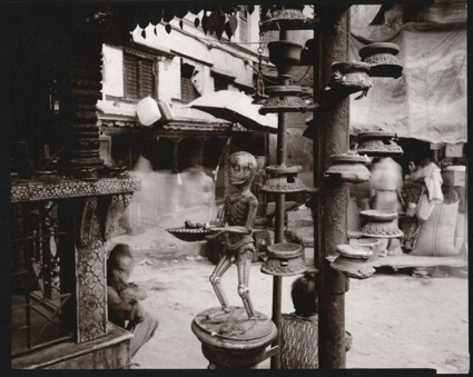 Linda Connor, Skeleton, Shrine, Kathmandu, Nepal, 1980. Photograph: Wellcome Images/The Richard Harris Collection