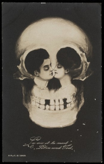 Metamorphic postcard (c1900-10). 'La vie et la mort, Leben und Tod' (Life and death, life and death). Photograph: Wellcome Images/The Richard Harris Collection