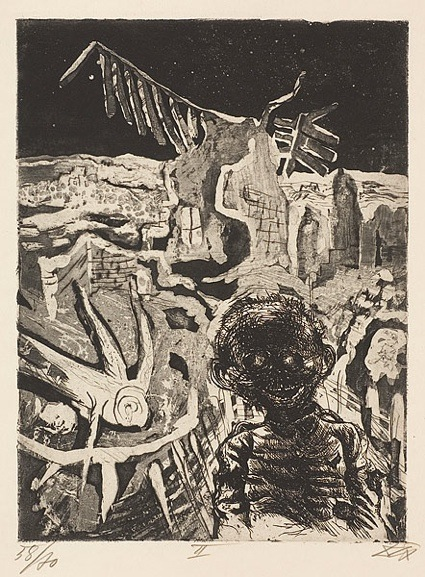 Otto Dix, Night-time encounter with a madman, plate 22 from Der Krieg (The War), 1924