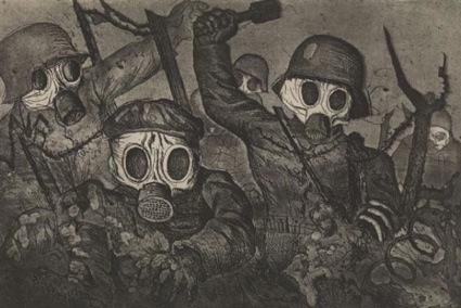 Otto Dix, Shock Troops Advance Under Gas, from the series Der Krieg (The War), 1924. Photograph: Wellcome Images/The Richard Harris Collection